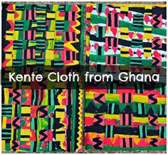 "Think about use of pattern for maths :Ghanian Kente Cloth""- kids multicultural art project. I love how the colors turned out! African Art Projects, African Crafts, African Art For Kids, Georgia O'keeffe, 2nd Grade Art, Kente Cloth, Paper Weaving, Africa Art, Kenya Africa"