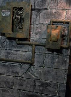 I am in the process of working on my electrical room prop. I have a foam/plywood… Steampunk Halloween, Halloween Projects, Spooky Halloween, Halloween Themes, Halloween Decorations, Halloween 2019, Haunted House Props, Haunted Houses, Escape Room Puzzles