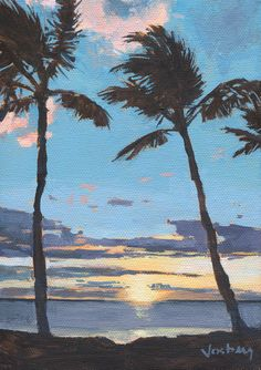 Original art painting tropical Maui palm by StacyVosbergFineArt, $75.00