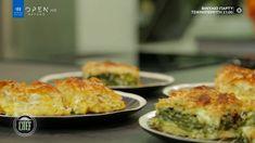 Ο Βαγγέλης Δρίσκας φτιάχνει τυρόπιτα και σπανακόπιτα σουφλέ, δύο αφράτες πίτες με πολύ τραγανό φύλλο και λίγα υλικά. Baked Potato, Quiche, Side Dishes, Sweet Home, Pizza, Baking, Breakfast, Ethnic Recipes, Tarts