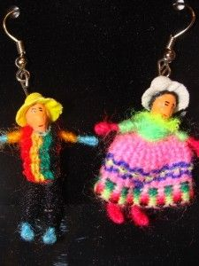 48 Pair Pack Worry Doll Earrings Peru Girls New Jewelry Fair Trade Hand Made NWT