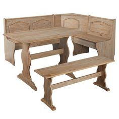 Breakfast Nook Dining Set Corner Booth Bench Kitchen Table Wood w/ Storage. This nook set will add a country feel to any kitchen or dining area. This set includes a corner unit, bench, and table. Solid Wood Dining Set, Solid Wood Table Tops, 3 Piece Dining Set, Dining Sets, Wood Table Bases, Oak Table, Table Bench, Breakfast Nook Dining Set, Breakfast Nooks