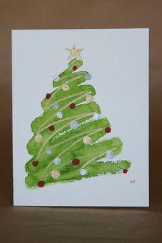 Ideas Diy Christmas Cards Handmade Watercolor For 2019 Painted Christmas Cards, Homemade Christmas Cards, Noel Christmas, Homemade Cards, Handmade Christmas, Christmas Decorations, Christmas Ideas, Christmas Projects, Watercolor Christmas Art