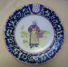 Decor riche plate with Bretonne from Geo Martel of Desvres. Courtesy of countryfrenchpottery.com |Pinned from PinTo for iPad|