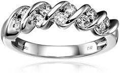 14k White Gold Diamond Channel S Anniversary Ring (1/2 cttw, H-I Color, I1-I2 Clarity), Size 7