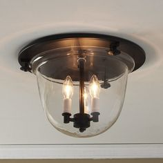 Flush Ceiling Bell Lantern dark_bronze_with_clear_glass