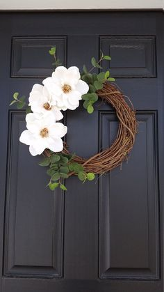 Your place to buy and sell all things handmade Magnolia Flower Wreath Spring Wreath Farmhouse Style Diy Spring Wreath, Summer Door Wreaths, Summer Door Decorations, Diy Easter Decorations, Easter Wreaths Diy, Wedding Door Wreaths, Summer Porch Decor, Homemade Decorations, Christmas Wreaths For Front Door