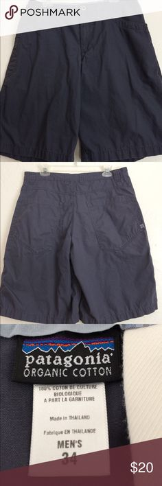 """Patagonia deep cool gray organic cotton EUC Front and hip pockets, belt loops, High quality shorts. 100% organic cotton.  Washable.  Waist measures 35"""", front rise 11"""", back rise 16"""", length 23"""". Patagonia Shorts Flat Front"""