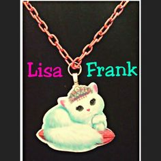 "LISA FRANK KITTY PURRSCILLA NECKLACE New - Never Worn  ** No tags were ever attached to this   Size : Adjustable - 18"" Chain - you decide the length by which link you hook it onto.   Perfect for the young, the old & everyone in between.  Fun & colorful! Purrscilla the white cat who loves everything luxurious & with sparkling bling once again takes center stage, only this time as part of the jewelry she so dearly loves. And following in true Lisa Frank style, hangs from a link chain that's…"