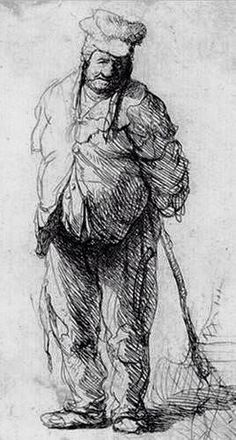 Rembrandt Harmenszoon van Rijn: Ragged Peasant with His Hands Behind Him, Holding a Stick; etching x 75 mm). Rembrandt Etchings, Rembrandt Drawings, Life Drawing, Painting & Drawing, Figure Sketching, Dutch Painters, Leiden, Old Master, Art Drawings