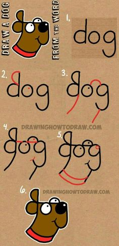 How to Draw a Dog from The Word Dog – Easy Step by Step Drawing Tutorial for Kids Cómo dibujar un perro de The Word Dog – Tutorial de dibujo fácil paso a paso para niños Drawing Tutorials For Kids, Drawing Tips, Dog Drawing Easy, Dog Drawing Tutorial, Easy Drawing For Kids, Drawing Ideas Kids, Drawing Drawing, Sketching For Kids, Fun Easy Drawings