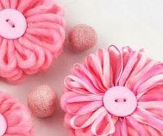 3 Pink Yarn Flowers by LuluFleur on Zibbet