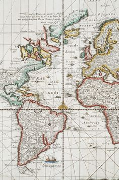 Atlantic Ocean Map, 1680,
