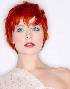 Commonly the women with short hair would like to request the hairstylist with 2 kinds of models, Shaggy and Pixie. These are some Sexy Short Shaggy & Pixie Cut Hairstyles Inspiration for Women. Red Hair Pixie Cut, Layered Pixie Cut, Short Hair Cuts, Short Hair Styles, Long Layered, Pixie Cuts, Red Pixie Haircut, Short Wavy, Short Shaggy Haircuts