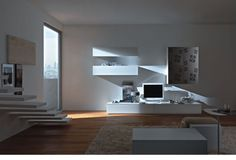 meuble TV blanc de design moderne et marches flottantes