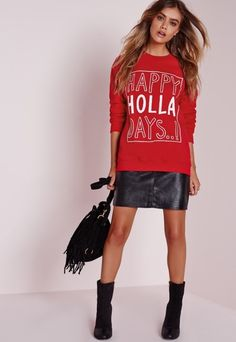 Happy Holla Days Sweater Red
