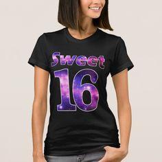 Sweet 16 Galaxy Black T-shirt Stars Birthday Girl Party Shirt