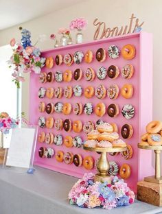 Looking for some awesome donut themed party ideas? These 10 awesome donut themed party ideas will definitely motivate you to make every party a donut themed party. The donut wall display. Brunch Wedding, Wedding Catering, Bar Catering, Wedding Reception, Catering Events, Wedding Breakfast, Wedding Parties, Catering Services, Fete Emma