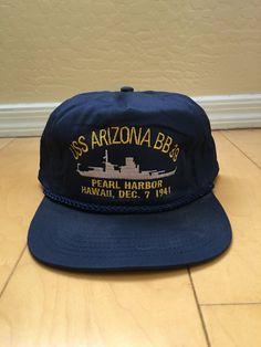 d357119b3a4 Vintage embroidered trucker hat USS ARIZONA by TheThriftMonster Uss  Arizona
