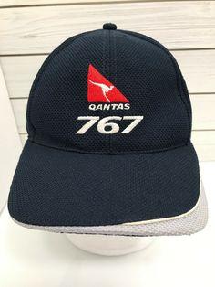 8ebe95ed19be4d Qantas 767 Australia Blue Strap Back Baseball Hat Kangaroo Red White Gray