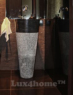 Pedestal Hammered Black Marble