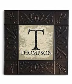 Personalized Vintage Embossed Metal Wall Art - Black by Personal Creations. $24.99. A Personal Creations Exclusive! Our Weathered Wall Art Has The Look Of The Old-Fashioned Ceiling Tiles. We Personalize Each With Any Name, Up To 12 Characters, And Any Single Initial. Each Has A Metal Wire For Hanging. Measures 11â?Square