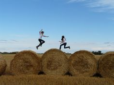 Fall photo shoot idea if you live in the country! My kids play on the bales all the time!