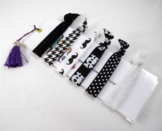 Stocking Stuffers for Teen Girls, for Tween Girls. Black and White Hair Ties Set with Personalized Bookmark by foreverandrea These would make a great stocking stuffer for Tweens or Teens!