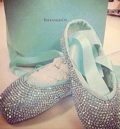 Blue sparkly pointe shoes
