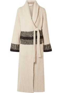 Striped ribbed wool-blend cardigan