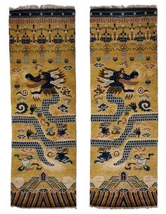 Hand-Knotted Wool Pair of Ningxia Dragon Temple Pillar Rugs/Carpets, Chinoiserie 2