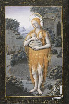 Santa Maria Egiziaca che porta tre pani e senza altre vesti che i suoi capelli lunghi e folti, f. 88v, Libro d'Ore di Enrico iv di Francia