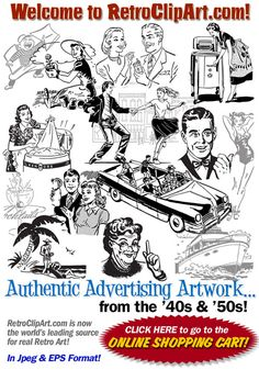 Retro Clip Art - retro clipart - authentic advertising illustrations and artwork from the '40s and '50s