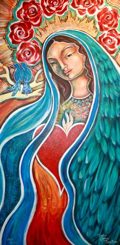 blessed mother, nuestra senora maestosa by Shiloh Sophia visit The Cosmic Cowgirls University and learn to paint with Shiloh... http://www.cosmiccowgirlsuniversity.com/