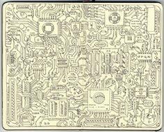 Cute! <3  Mattias Inks: Motherboard lines in sketchbook