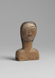 """Sculptural Naive Doll's Head (Sold) With Powerful Abstract Qualities  Hand Carved and Painted Pine  English, c.1910  6.00"""" high x 3.00"""" wide x 1.25"""" deep"""