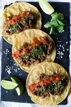"Mexican Steak Tacos I hear the question in your mind all the way from here (in Atlanta). ""Aren't all tacos Mexican, so why call this recipe Mexican Steak Tacos, instead Steak Tacos, Pork Recipes, Cooking Recipes, Healthy Recipes, Spinach Recipes, Cooking Ideas, Food Ideas, Recipies, Mexican Dishes"