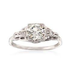 Ross-Simons - C. 1950 Vintage 1.00 ct. t.w. Diamond Ring in 14kt White Gold. Size 6.75 - #847674