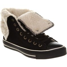Converse X high black shearling ($110) ❤ liked on Polyvore