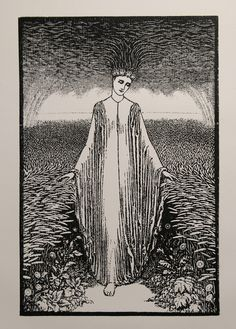 The Lady of the Rains (1886), woodcut by Arthur Burgess, issue ofThe Century Guild Hobby Horse.