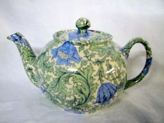 anemone teapot in a design of William Morris by Heron Cross Pottery