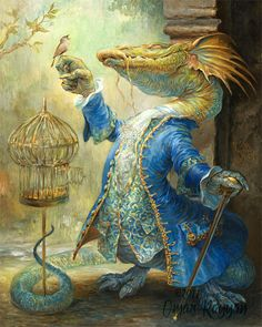 Dragon and the Nightingale mini print by StudioRayyan on Etsy