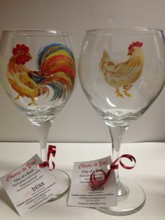 Special request ... rooster & chicken. Hand painted custom wine glasses. ... see more in glass album on face book page: Artful Bliss 4 You