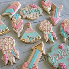 Pink & Mint Baby Pow Wow Cookies