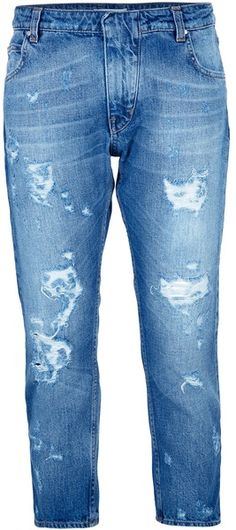 Distressed Cropped Jeans - Lyst