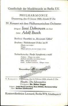 Fischer Edwin And Busch Adolf  Program   Concerts Berlin
