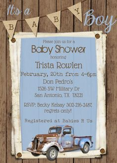 Vintage truck baby shower invitation rustic wood baby shower retro vintage truck baby shower invitation filmwisefo