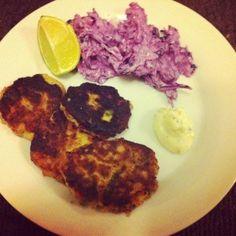 Jamie's fish cakes with purple slaw