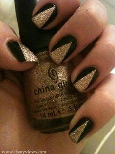 Gold triangle black nails