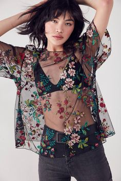 Kimchi Blue Alana Floral Embroidered Sheer Tee | Urban Outfitters